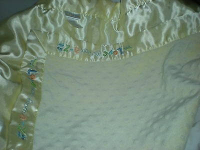 CARTERS just one yellow minky dot BABY BLANKET a-z love