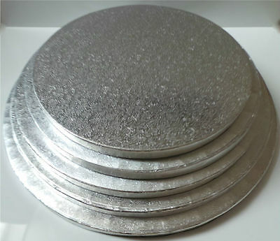 """12mm SILVER ROUND CAKE BOARD/DRUM 8 9 10 11 12"""" Choose your size"""