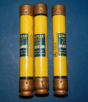 Lot of 3 Bussmann LPS-RK-9SP Low-Peak Fuses 9Amp 600VAC LPSRK9SP