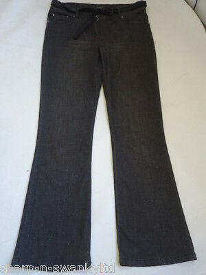 Ladies Grey Belted Bootcut Denim Jeans Trousers UK 12 EU 40 W30 L31