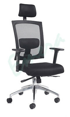 Ibiza Ergonomic High Back Mesh Chair With Arms. Seat Slider, Lumbar & Head Rest