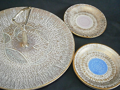 """10.00"""" STANGL TIDBIT TRAY + TWO 5.00"""" ANTIQUE GOLD PLATES"""