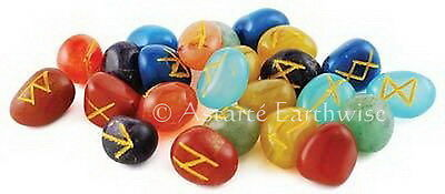RUNES: 7 CHAKRA RUNES SET IN POUCH Pagan Wicca Witch Norse Divination Psychic