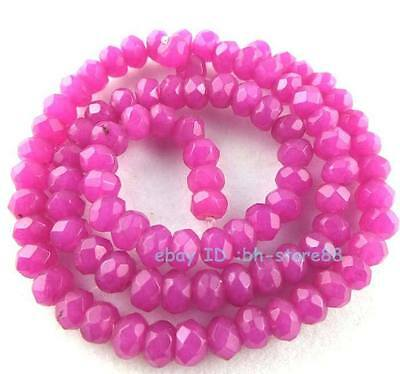 Beautiful 4x6mm Pink Jade Rondelle Faceted Loose Beads 15''