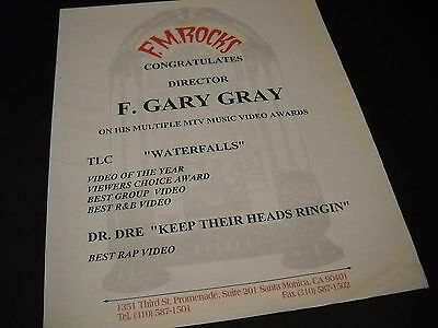 F. GARY GRAY along with DR. DRE and TLC 1995 Video Awards PROMO DISPLAY AD mint