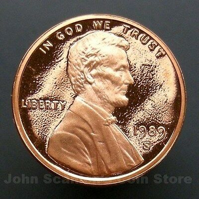 1989-S Lincoln Memorial Cent Penny - Gem Proof Deep Cameo U.S. Coin