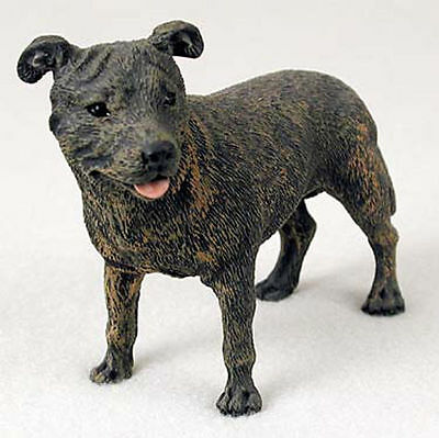 Staffordshire Bull Terrier Figurine Hand Painted Statue Brindle