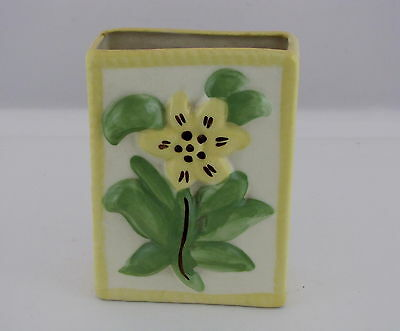 """Block Pottery of California Wall Pocket with Yellow Flower & Green Leaves, 6"""" t"""