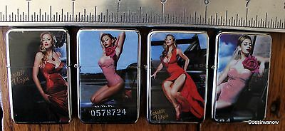 Flip top Oil Refillable Cigarette Lighter Assorted Sexy Pin Up Girls