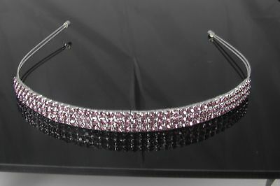 Beautiful 3 Row Lilac Crystal Tiara/Headband- Brand New T9