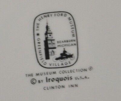 Clinton Inn OPEN GRAY ATTACHED PLATE  by Iroquois Henry Ford Museum Collection