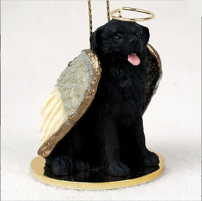 Newfoundland Dog Figurine Ornament Angel Statue Hand Painted
