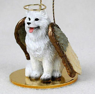 Samoyed Ornament Angel Figurine Hand Painted