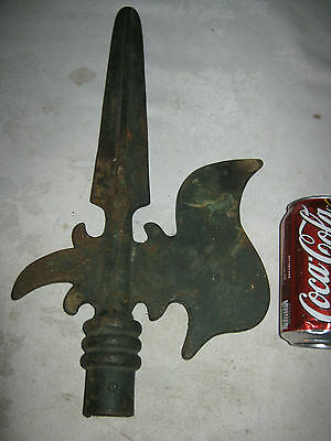 Antique Medieval Cast Iron Gate Spear Top Sword Knife Blade Gothic Art Fineal