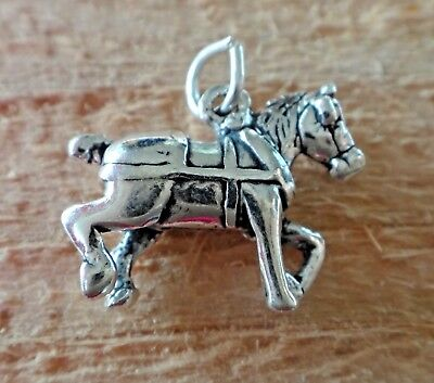 Sterling Silver 3D 14x20m Work Belgian Draft Clydesdale Horse with Harness Charm