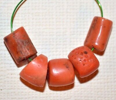 Antique Natural Red Coral Beads Collected From Nigeria Via African Trade