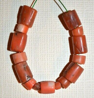Antique Natural Red Coral Beads Collected From Nigeria Via The African Trade