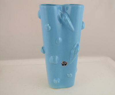 """Camark Pottery Tall Vase w Sea Shells in Relief, Blue, Original Label, 10"""" tall"""