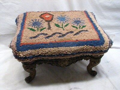 Antique Cast Iron Leg Art Nouveau Foot Stool w/Hooked Rug Top Folk Art Bench