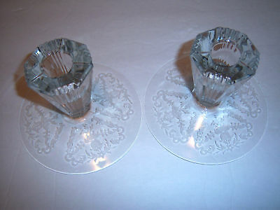 PAIR OF  HEISEY PARALLEL QUARTER ETCHED CANDLE STICKS