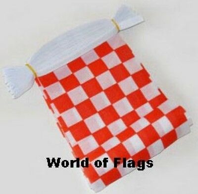 RED and WHITE CHECK FLAG BUNTING Checkered Checked 9m 30 Fabric Flags Sport Club
