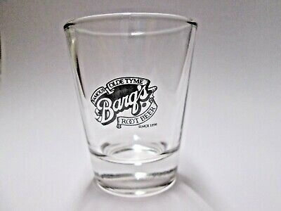 Nice Barqs Root Beer Soda Logo On A Clear Shot Glass