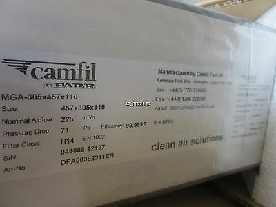 New Lot of 2 Camfil MGA-305x457x110 H14 Air Filter 99.99% - 99.9992% Efficiency