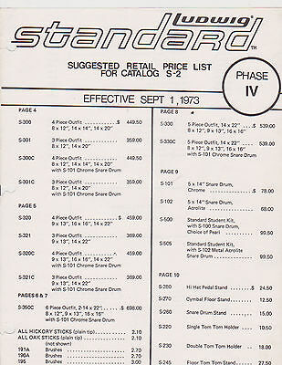 #misc-0090 - Sept 1 1973  Ludwig Standard Drum Catalog Price List