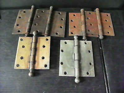 2 Antique Iron Sets Of Door Hinges And 2 Singles (Yale-Sw)  6273
