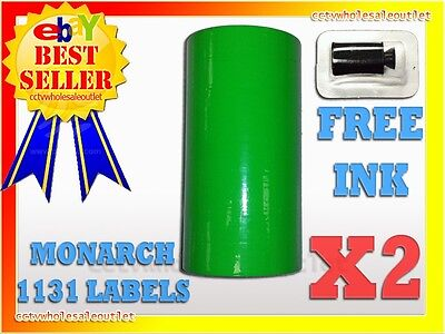2 Sleeves Fluorescent Green Label For Monarch 1131 Pricing Gun 2 Sleeves=16Rolls