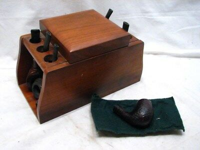 Lot 6 Estate Smoking Pipe Briars w/Stand/Rack Lord Drake, Invincible, Chacom