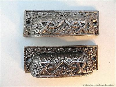 Pair Of Inca Design Victorian Style Cast Iron Cup Handle Drawer Pull Handle Is1