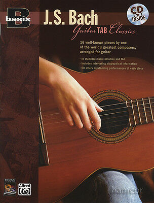 Basix JS Bach Guitar TAB Classics Solo Classical Guitar Sheet Music Book & CD