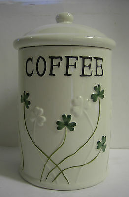 Ireland Watervale Parian China Coffee Caddy With Green Shamrocks