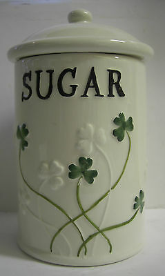 Ireland Watervale Parian China Sugar Caddy With Green Shamrocks