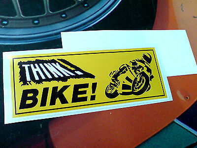 THINK BIKE Reverse Window Motorcycle Safety Sticker Decal 1 off 125mm