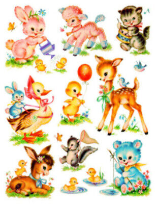 ~Vintage Image Shabby Nursery Baby Animal Assortment Waterslide Decals~ AN678
