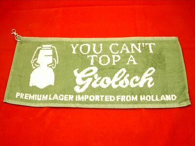 New Grolsch golf towel - 50 x 22 cms - clips to golf bag