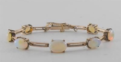 Antique Childs Victorian Graduated Opal 9k Gold Bracelet Safety Chain Unsigned