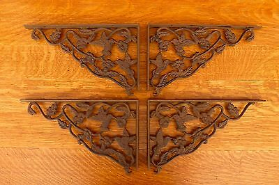 "4 BROWN ANTIQUE-STYLE 12.25"" HUMMINGBIRD SHELF BRACKETS CAST IRON rustic garden"