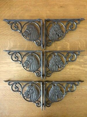"""6 BROWN ANTIQUE-STYLE 9"""" CAST IRON HORSE SHELF BRACKETS rustic country western"""