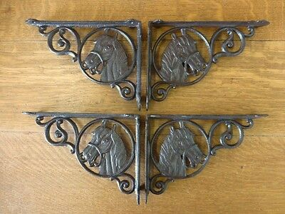 "4 BROWN ANTIQUE-STYLE 9"" CAST IRON HORSE SHELF BRACKETS rustic country western"