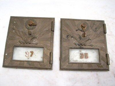 Pair Antique USPS Flying Eagle Mail Post Office Box Door US Brass Glass Window B