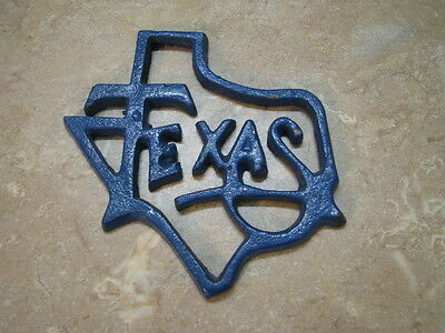 Vintage? CAST IRON TEXAS STATE Paperweight? DECOR PAINTED BLUE Rusty Rustic NICE