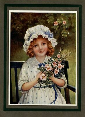 Juvenile Young Girl Holding Bouquet Of Flowers Antique Rare Vintage Flower Girl