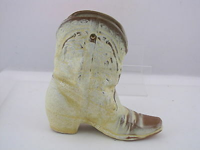 "Frankoma Pottery Boot Wall Pocket, Vase, Desert Gold, #133, 7"" tall"