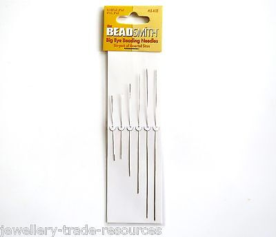 6x BEADSMITH BIG EYE BEADING WIRE NEEDLES STRINGING THREADERS BEADS & PEARLS