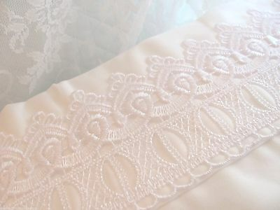Queen 4pc SHEET SET WHITE Venise Lace Shabby Rose Cottage Romantic Home chic bed