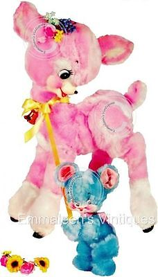 ~Vintage Image Shabby Baby Pink Deer Fawn and Blue Bear Waterslide Decals~ AN680