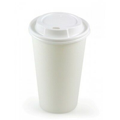 100 X 12oz White Paper Cups & Lids Disposable Tea Coffee Single Wall Supplies